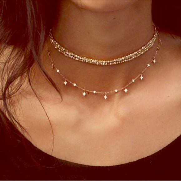 29e54ed42d806 ☀️Circular Rhinestone Layered Choker Necklace☀️ Boutique